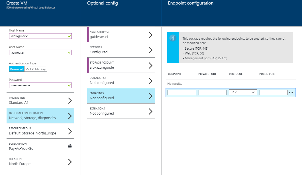 edgeNEXUS Load Balancer in Azure - Configure End Points
